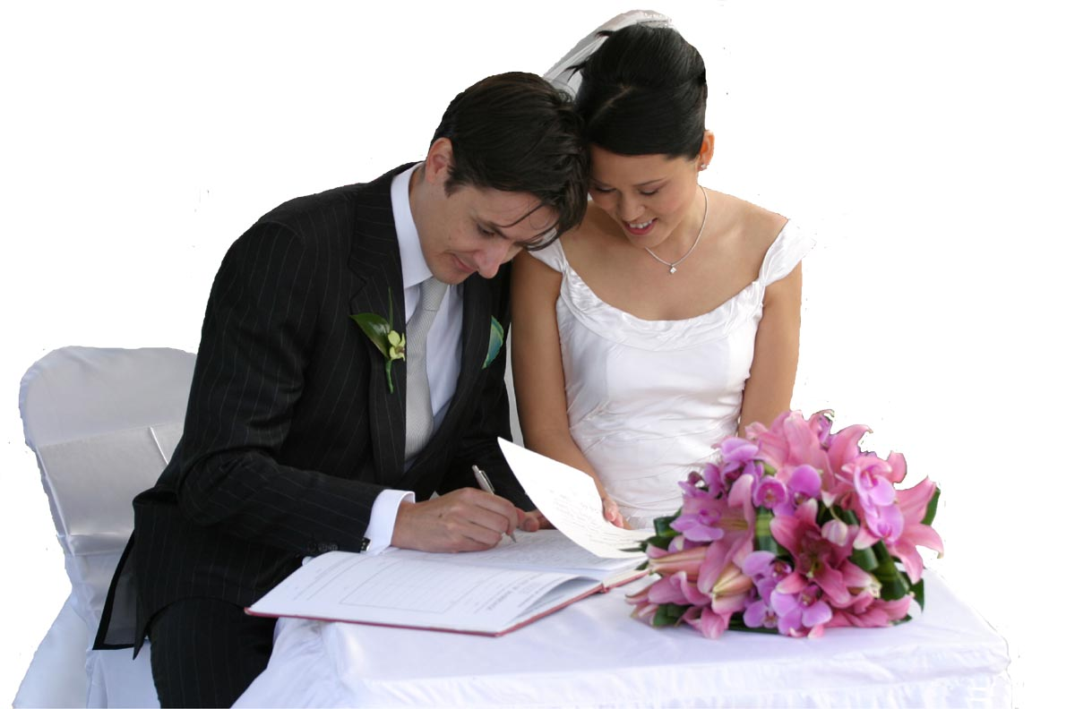 Couple Signing